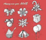 New year ornament hand drawing vintage line style. For greeting card royalty free illustration