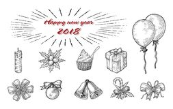 New year ornament hand drawing vintage line style. Isolated on white background vector illustration