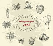New year ornament hand drawing vintage line style. Isolated on white background royalty free illustration