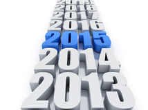 New year 2015 and other years. In white background Royalty Free Stock Photo
