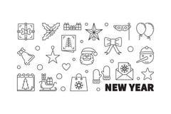 New Year outline horizontal illustration - vector banner. With modern thin line design Stock Illustration