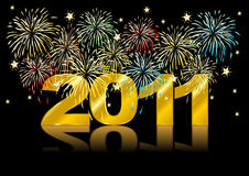 New Year over black. Happy new Year. Fireworks over black background Royalty Free Stock Photo