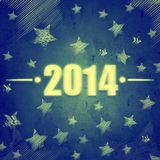New year 2014 over blue retro background with stars Stock Photos