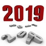 New Year 2019 over the past ones - a 3d image stock photos
