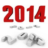 New Year 2014 over the past ones - a 3d image. New Year 2014 over the past ones, a 3d image Stock Photo