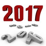 New Year 2017 over the past ones - a 3d image. New Year 2017 over the past ones, a 3d image Stock Image
