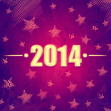 New year 2014 over violet retro background with stars. New year 2014, abstract violet background with figures and illustrated striped stars, retro style holiday Stock Images