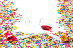New Year, Overturned wineglass Royalty Free Stock Photo
