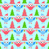 New year owl seamless pattern. Winter Royalty Free Stock Photos