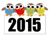 New year 2015 owls Royalty Free Stock Photography