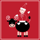 New Year of the Ox. Illustration of Santa Claus with the ox on the red background Royalty Free Stock Images