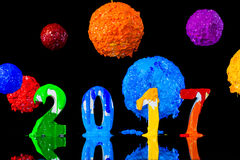 New year 2017 paint with plastisol ink Stock Photos