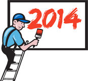 New Year 2014 Painter Painting Billboard. Illustration of a painter signwriter worker on step ladder with paintbrush painting billboard sign with new year 2014 vector illustration