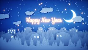 New Year paper background. Happy new year and xmas background. Snowfall. 3d rendering. Stock Photography