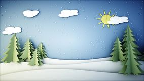 New Year paper background. Happy new year and xmas background. Snowfall. 3d rendering. Royalty Free Stock Photo