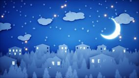 New Year paper background. Happy new year and xmas background. Snowfall. 3d rendering. Stock Image