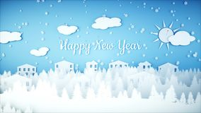 New Year paper background. Happy new year and xmas background. Snowfall. 3d rendering. Royalty Free Stock Photography