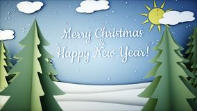New Year paper background. Happy new year and xmas background. Snowfall. 3d rendering. Royalty Free Stock Images