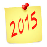 New Year paper note. Pinned 2015 New Year paper note Royalty Free Stock Image