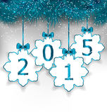 New Year paper snowflakes with bows Stock Photos