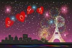 New Year in Paris, vector illustration