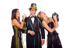 New year party. Young happy friends celebrating new year with dreamstime logo on hat