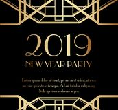 2019 New Year Party Art Deco Invitation Design. 2019 New Year Party Art Deco Luxury Premium Invitation Design vector illustration
