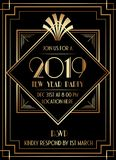 2019 New Year Party Art Deco Style Invitation Design. 2019 New Year Party Art Deco Style Gatsby Invitation Design stock illustration