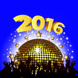 2016 New Year party. Background with Disco Ball and Crowd Stock Photo