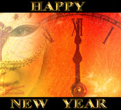New year party background with masked woman Stock Photos