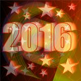New Year 2016 party billboard concept with bold numbers and star shapes on red grid background Stock Photography