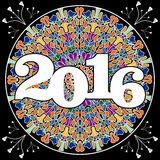 New year 2016 party billboard with pied mosaic mandala on black background. Stock Images