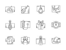New Year party black line icons set. Champagne, Christmas decoration, fir-tree and other elements for winter holidays. Happy New Year 2016. Set of black flat Royalty Free Stock Photo
