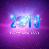 New Year Party card with numbers 2019. Shiny disco ball on night background. Vector illustration.  vector illustration