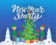 New Year party - cartoon characters illustration with calligraphy text. On blue snowy background. Two smiling elves standing next to big decorated Christmas Royalty Free Stock Photography