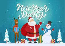 New Year party - cartoon characters illustration with Santa, raindeer, snowman. And presents. High quality calligraphy text. Silhouettes of trees and city on Stock Images