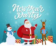 New Year party - cartoon characters illustration with Santa, raindeer, snowman. And presents. High quality calligraphy text. Silhouettes of pine trees on blue Stock Photo