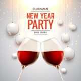 New year party celebration alcohol champagne background. Luxury twi glasses and confetti holiday decoration.  royalty free illustration