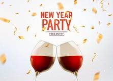 New year party celebration alcohol champagne background. Luxury twi glasses and confetti holiday decoration.  stock illustration