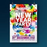 New Year Party Celebration Poster Illustration with Typography Design on Shiny Colorful Background. Vector EPS 10. New Year Party Celebration Poster Stock Images