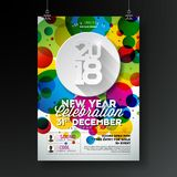 New Year Party Celebration Poster Illustration with Typography Design on Shiny Colorful Background. Vector 2018 Holiday Royalty Free Stock Photos