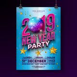 New Year Party Celebration Poster Template Design with 3d 2019 Number and Disco Ball on Blue Background. Vector Holiday. Premium Illustration for Invitation stock illustration