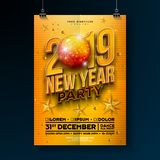 New Year Party Celebration Poster Template Design with 3d 2019 Number and Disco Ball on Yellow Background. Vector. Holiday Premium Illustration for Invitation vector illustration