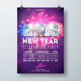 New Year Party Celebration Poster Template Illustration with 3d 2018 Number, Disco Ball and Firework on Shiny Colorful. Background. Vector Holiday Premium vector illustration