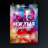 New Year Party Celebration Poster Template illustration with 3d 2019 Number and Disco Ball on Shiny Colorful Background. Vector Holiday Premium Invitation vector illustration