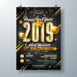 2019 New Year Party Celebration Poster Template Illustration with Lights Bulb Number and Gold Christmas Ball on Black. Background. Vector Holiday Premium royalty free illustration