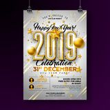 2019 New Year Party Celebration Poster Template Illustration with Lights Bulb Number and Gold Christmas Ball on White. Background. Vector Holiday Premium vector illustration
