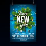 New Year 2019 Party Celebration Poster Template Illustration with Pine Branch and Lights garland on Wood Texture. Background. Vector Holiday Premium Invitation stock illustration