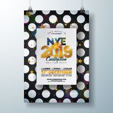 2018 New Year Party Celebration Poster Template Illustration with Shiny Gold Number on Abstract Black and White. 2019 New Year Party Celebration Poster Template royalty free illustration