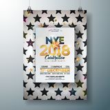 2018 New Year Party Celebration Poster Template Illustration with Shiny Gold Number on Abstract Black and White. Background. Vector Holiday Premium Invitation Royalty Free Stock Image